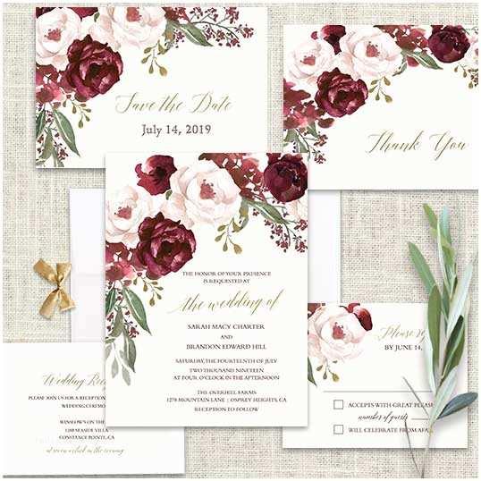 Burgundy and White Wedding Invitations Fall Wedding Invitations Burgundy Wine Gold Blush Floral