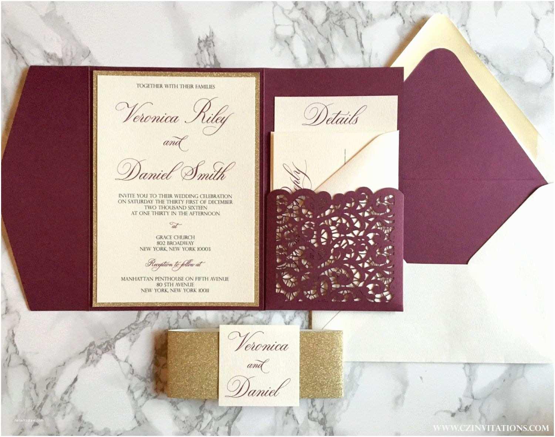Burgundy and White Wedding Invitations Laser Cut Pocket Wedding Invitation Burgundy and Gold