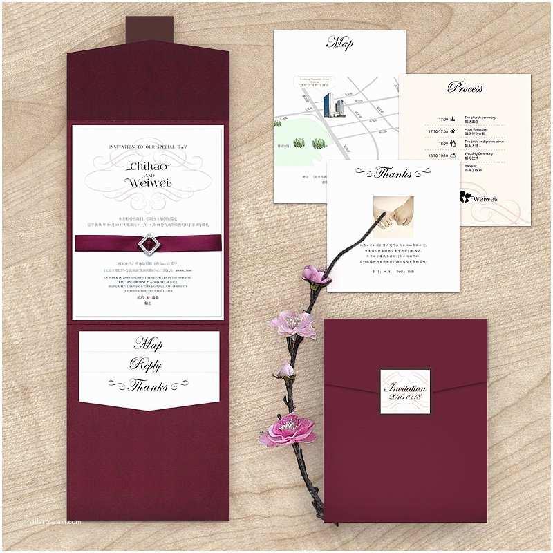 Burgundy and White Wedding Invitations Maroon Wedding Invitations