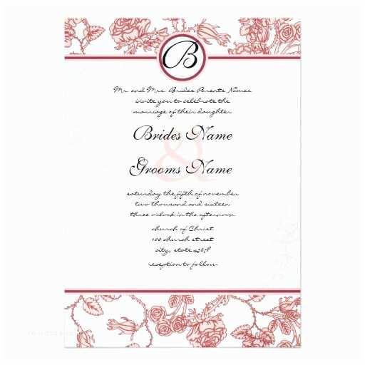 "Burgundy and White Wedding Invitations Pink & Burgundy Roses Wedding Invitation 5"" X 7"