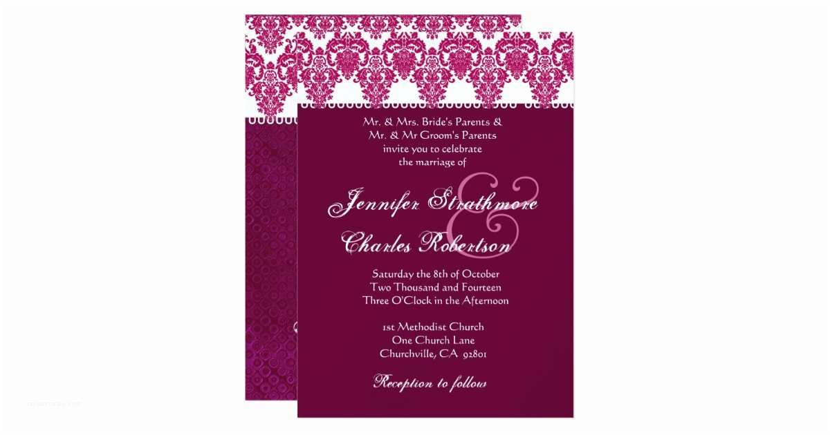 Burgundy and White Wedding Invitations Pink White and Burgundy Damask Wedding Invitation