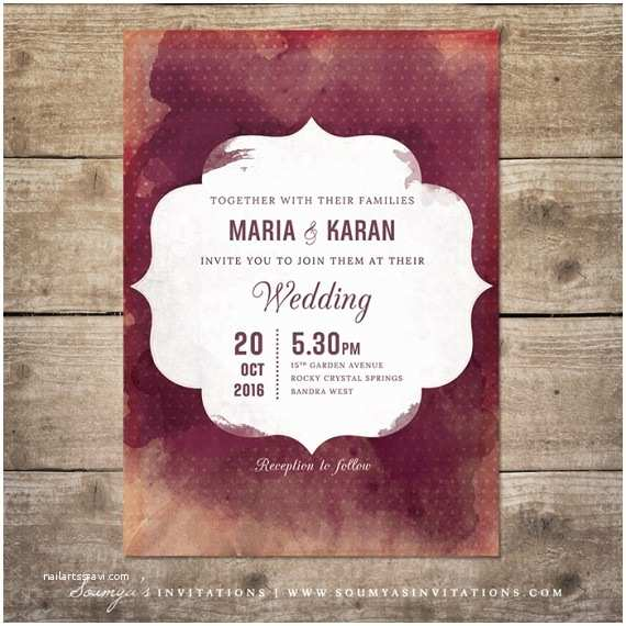 Burgundy and White Wedding Invitations Red and Cream Indian Wedding Invitation Wine Watercolor