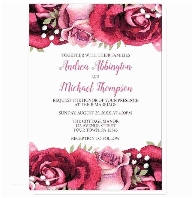 Burgundy and White Wedding Invitations Rustic Burgundy Pink Rose White Wedding Invitations at