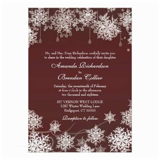 Burgundy and White Wedding Invitations Snowflake Winter Wedding Burgundy Red and White 5x7 Paper