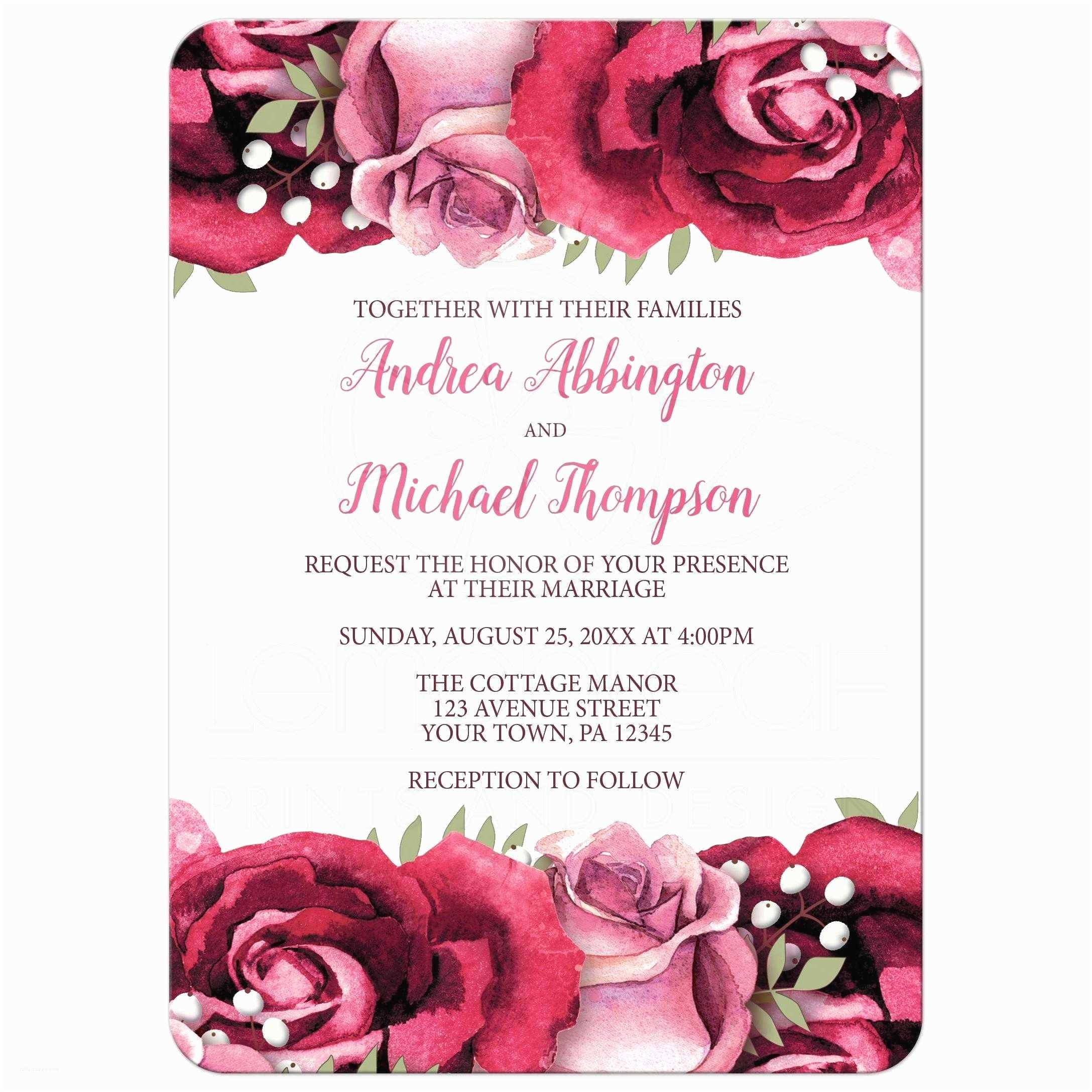 Burgundy and White Wedding Invitations Wedding Invitations Burgundy Pink Rose White Rustic