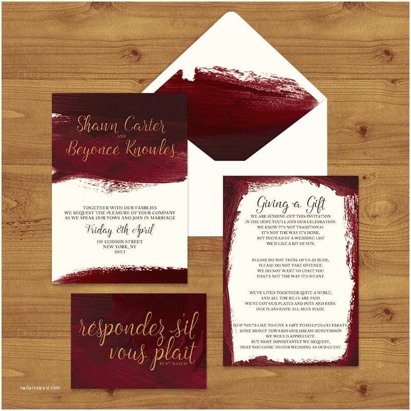 Burgundy and White Wedding Invitations Wedding Invitations — Hawthorne and Ivory