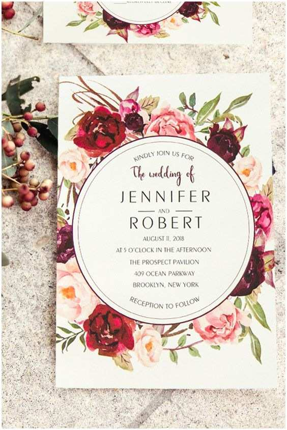 Burgundy Floral Wedding Invitations 25 Best Ideas About Fall Wedding On Pinterest