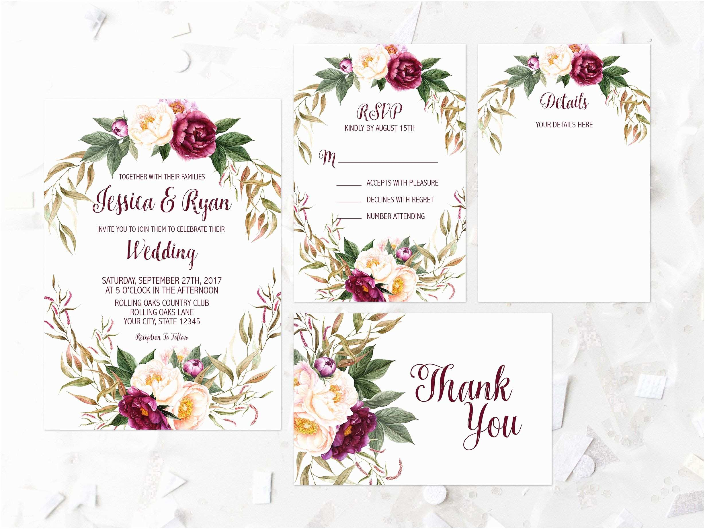 Burgundy Floral Wedding Invitations Bohemian Floral Wedding Invitation Printable Maroon Floral