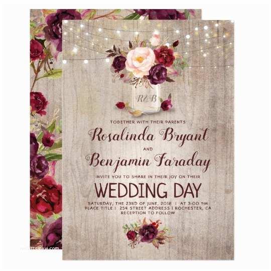 Burgundy Floral Wedding Invitations Burgundy Floral Mason Jar Rustic Wedding Invitation