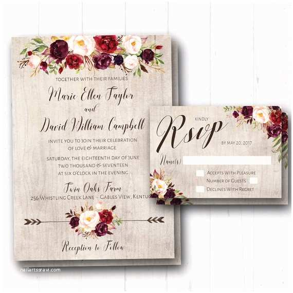 Burgundy Floral Wedding Invitations Burgundy Wedding Invitation Rustic Fall Wedding Invites