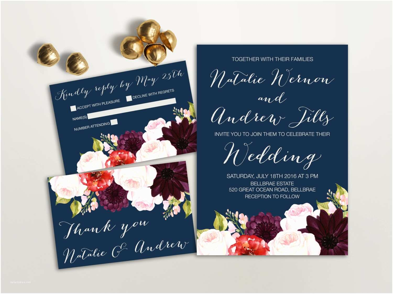 Burgundy Floral Wedding Invitations Floral Wedding Invitation Suite Printable Wedding Invitation