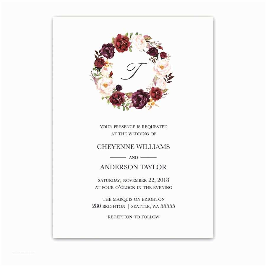 Burgundy Floral Wedding Invitations Floral Wreath Wedding Invitations Burgundy Wine Monogram