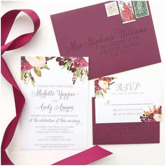 Burgundy Floral Wedding Invitations Marsala Wedding Invitation Burgundy Floral by