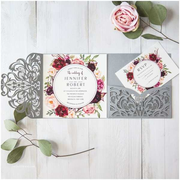 Burgundy Floral Wedding Invitations Silver Laser Cut Burgundy Floral Wedding Invitations