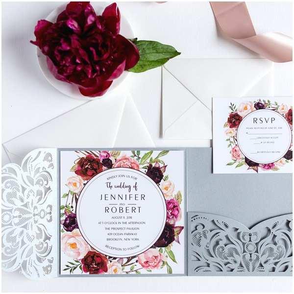Burgundy Floral Wedding Invitations Silver Laser Cut Burgundy Floral Wedding Invitations