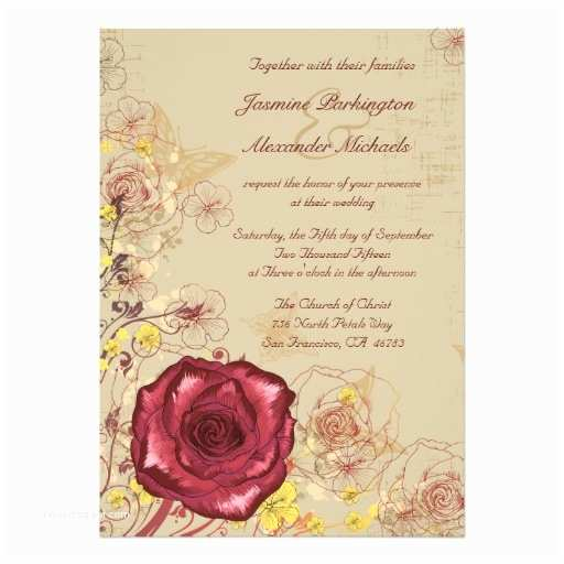 Burgundy Floral Wedding Invitations Vintage Burgundy Rose Floral Wedding Invitation