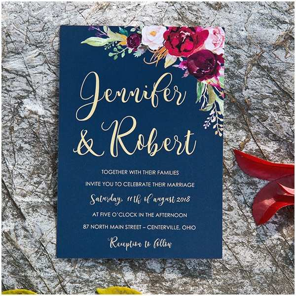 Burgundy themed Wedding Invitations Boho Navy Blue and Burgundy Floral Watercolor Wedding