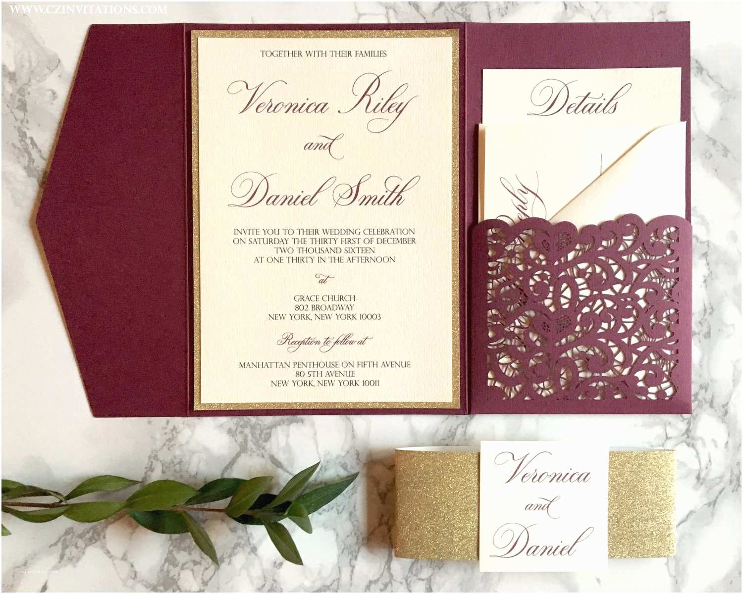 Burgundy themed Wedding Invitations Burgundy and Gold Laser Cut Pocket Wedding Invi with