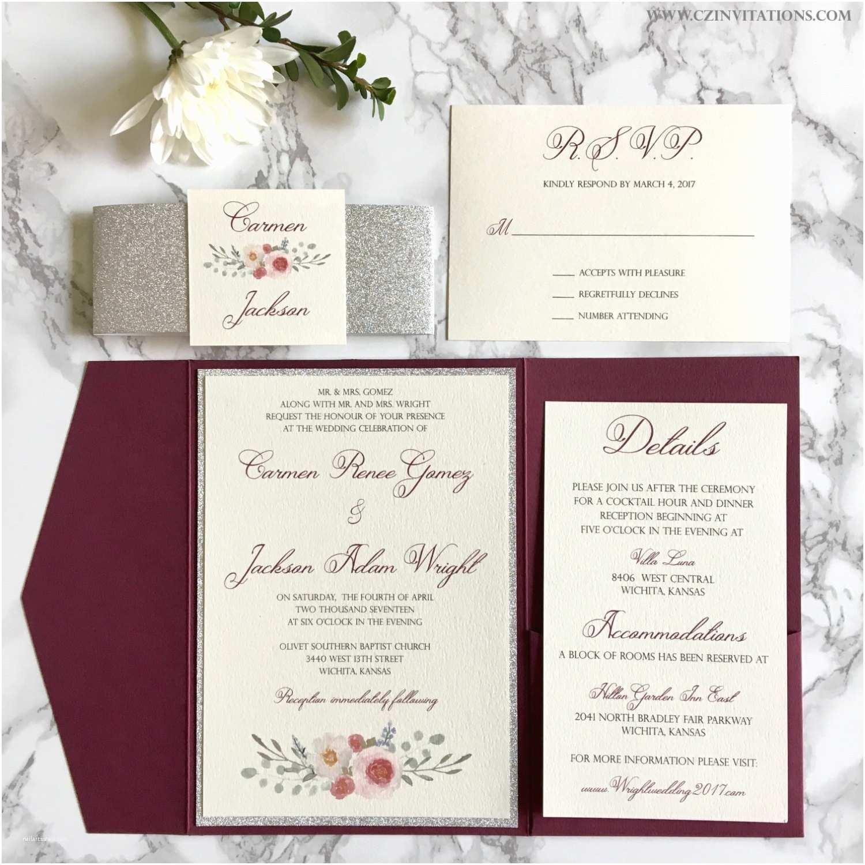Burgundy themed Wedding Invitations Burgundy and Silver Glitter Pocket Wedding Invitations