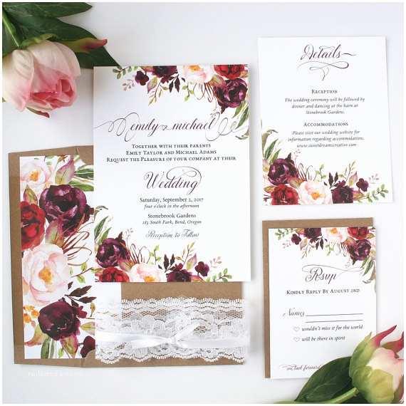 Burgundy themed Wedding Invitations Burgundy Wedding Invitations Burgundy & Blush Wedding
