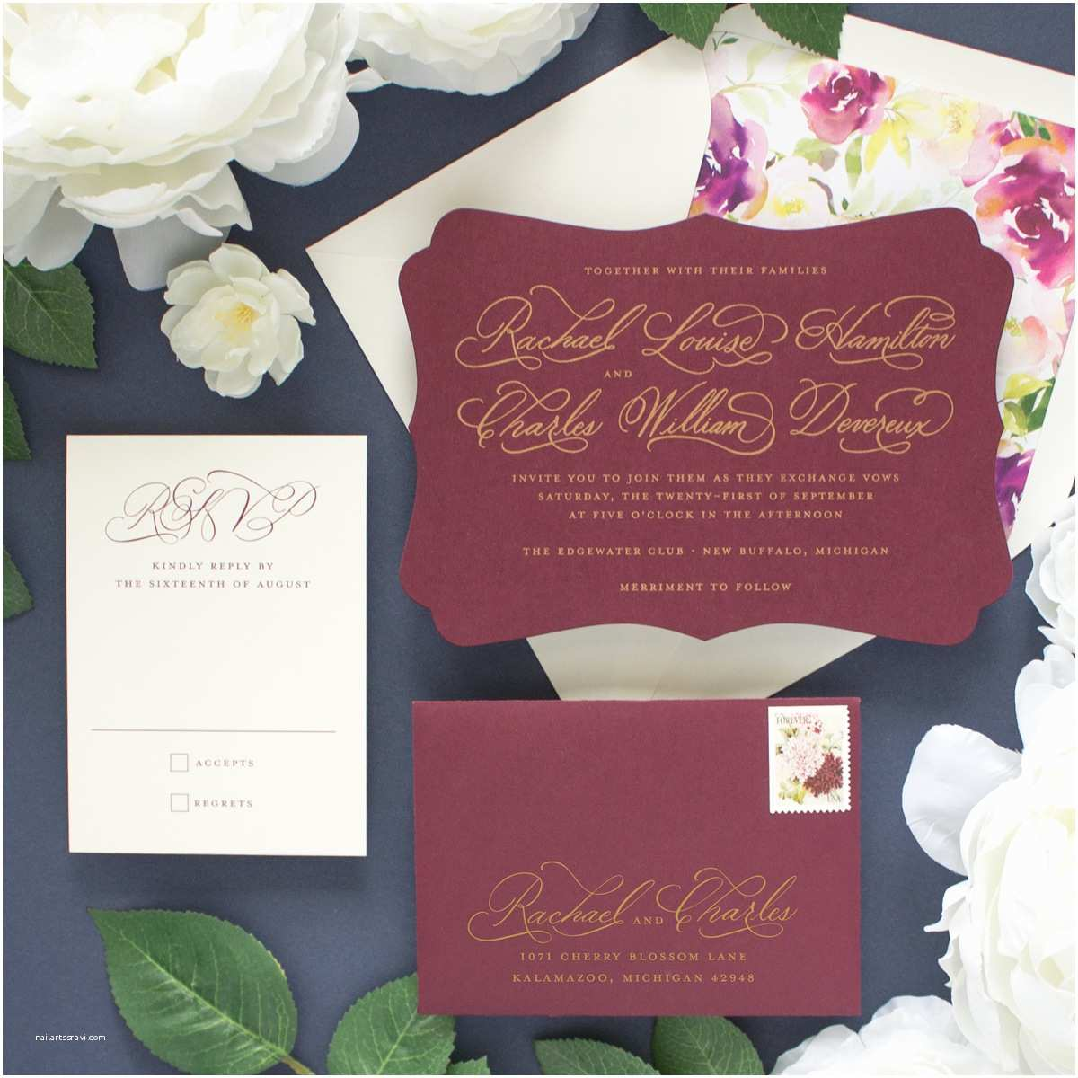 Burgundy themed Wedding Invitations Cherished