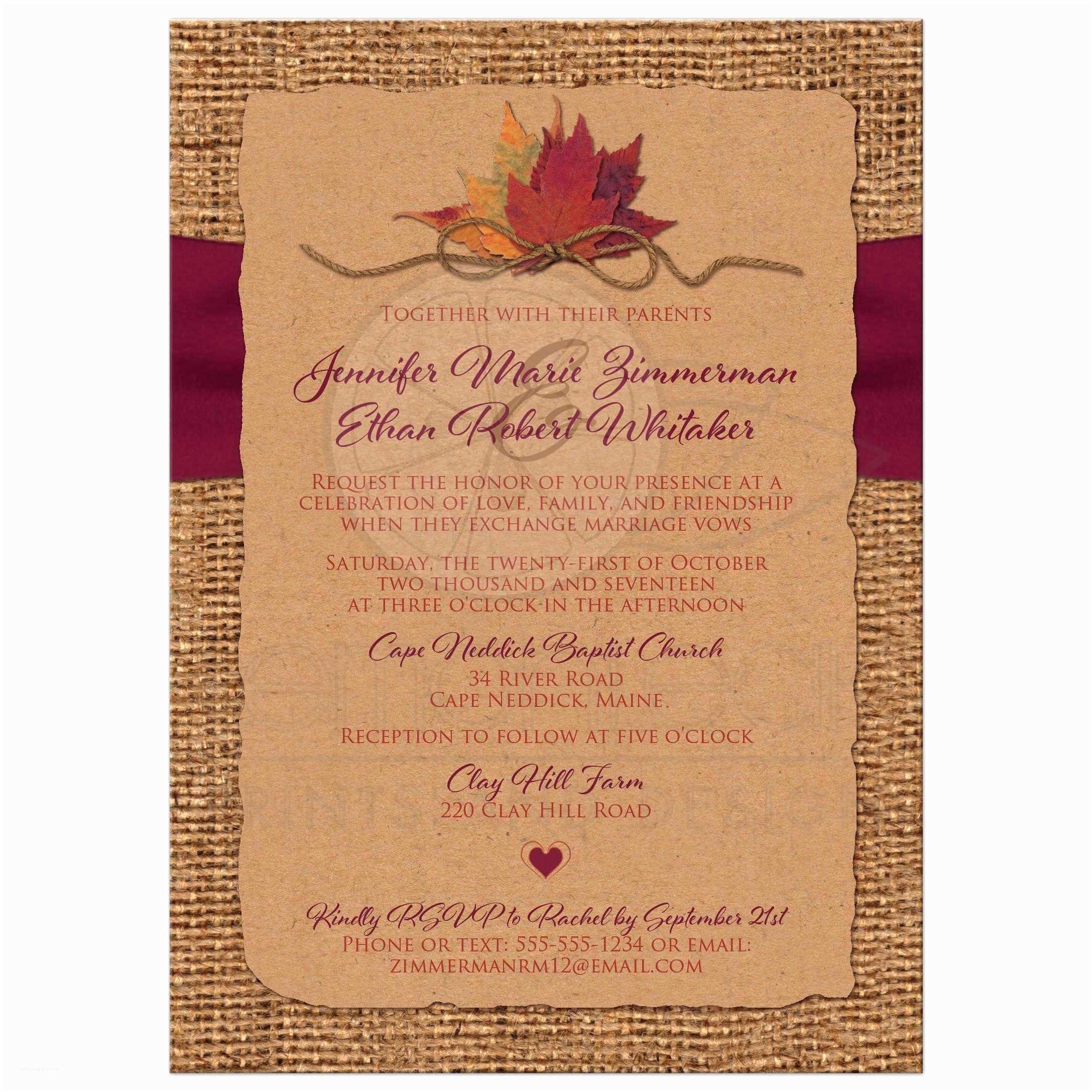 Burgundy themed Wedding Invitations Fall In Love Wedding Invitation