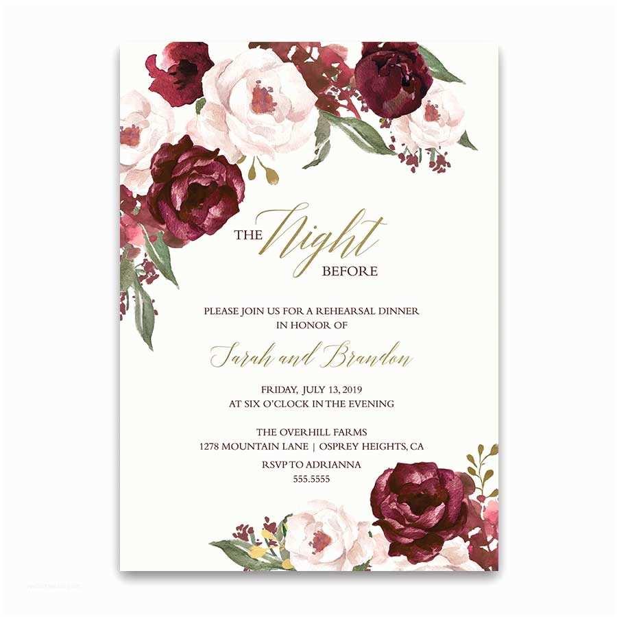 Burgundy themed Wedding Invitations Fall Wedding Menu Burgundy Wine Gold Blush Floral