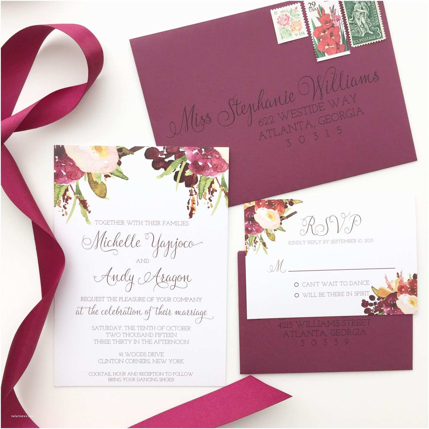 Burgundy themed Wedding Invitations Marsala Wedding Invitation Burgundy Floral by