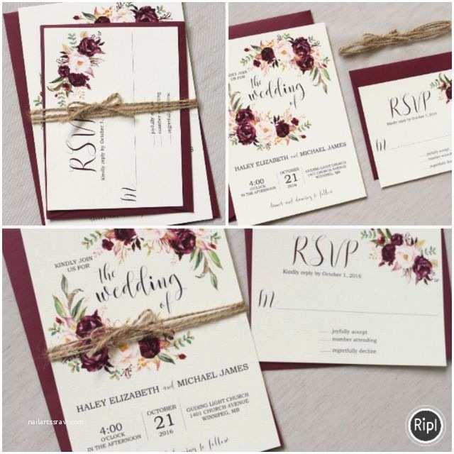 Burgundy themed Wedding Invitations Marsala Wedding Invitation Suite Burgundy Pink Bohemian