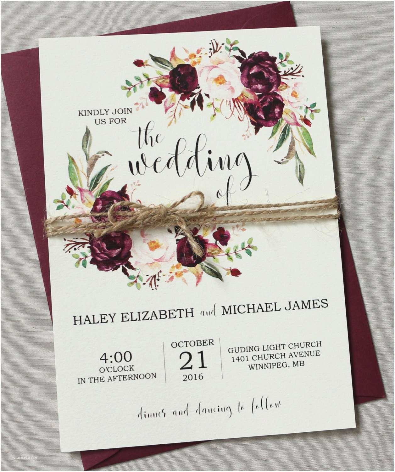 Burgundy themed Wedding Invitations Marsala Wedding Invitation Suite Burgundy Pink Bohemian