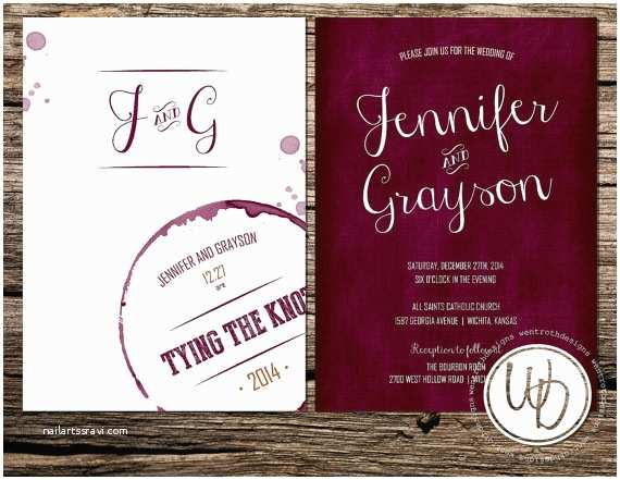Burgundy themed Wedding Invitations Modern Rustic Burgundy Red White Barn City Country Club