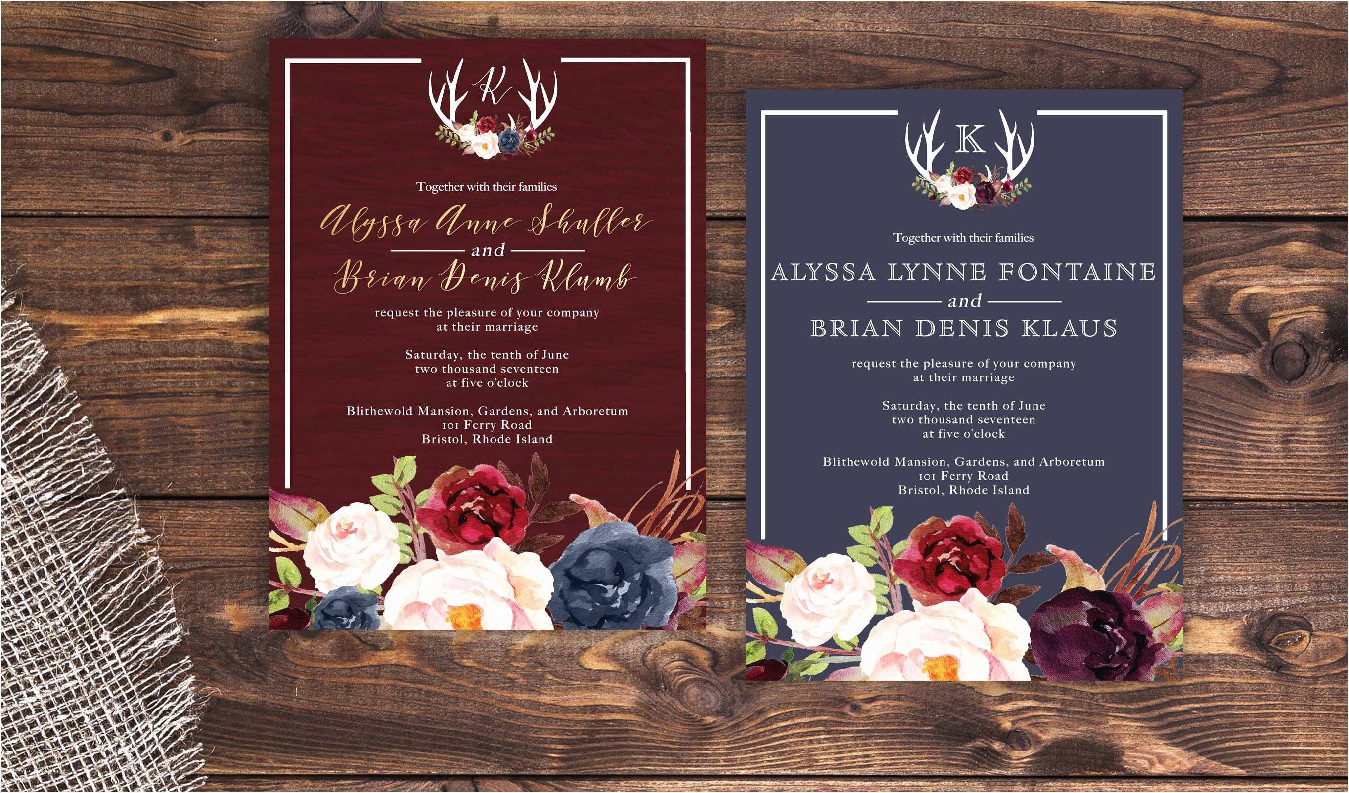 Burgundy themed Wedding Invitations Navy and Marsala Wedding Invitation Rustic Wedding