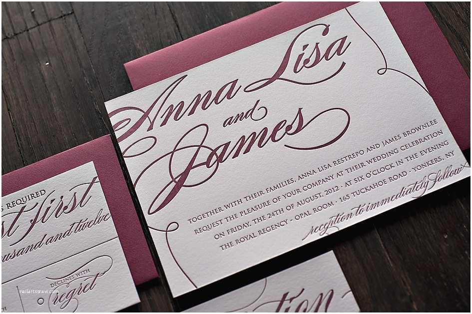 Burgundy themed Wedding Invitations Real Wedding Anna Lisa and James