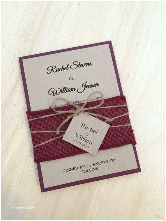 Burgundy themed Wedding Invitations Rustic Wedding Invitation Burlap Wedding Invitation