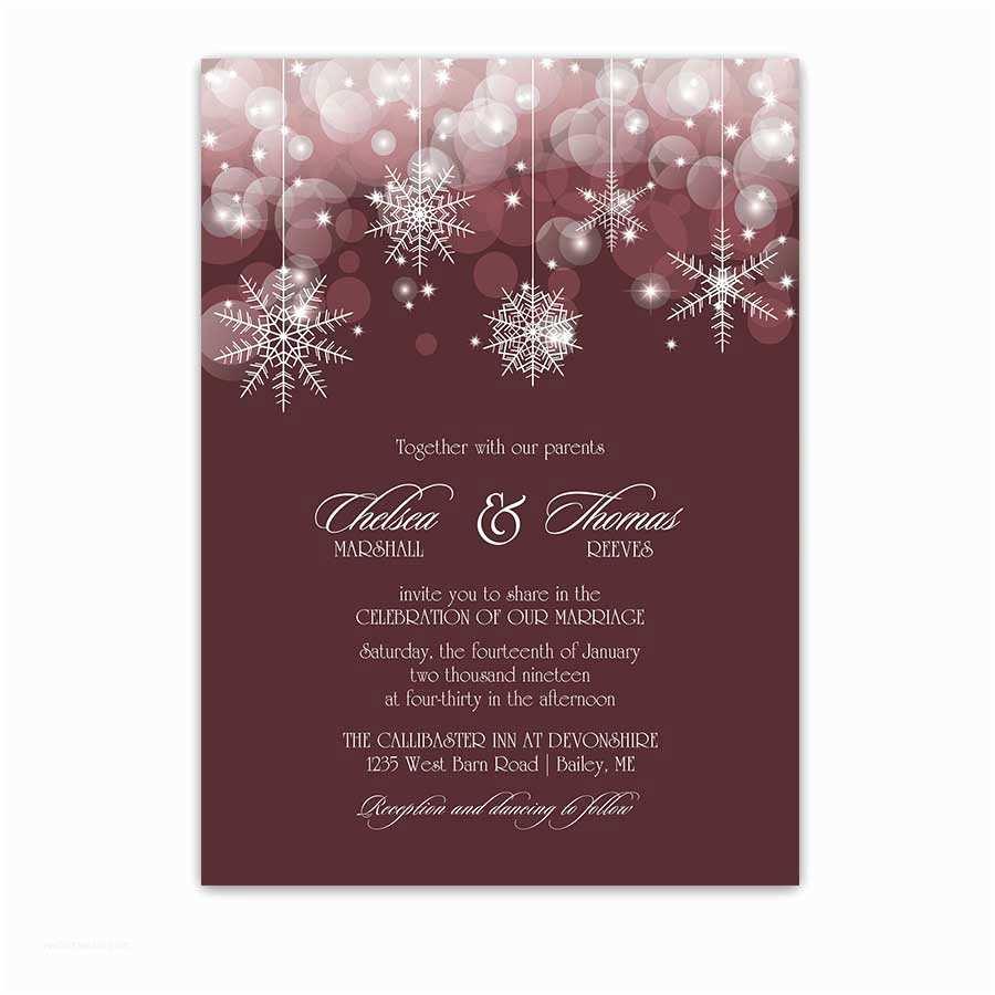 Burgundy themed Wedding Invitations Snowflake Winter Wedding Invitations Burgundy Marsala