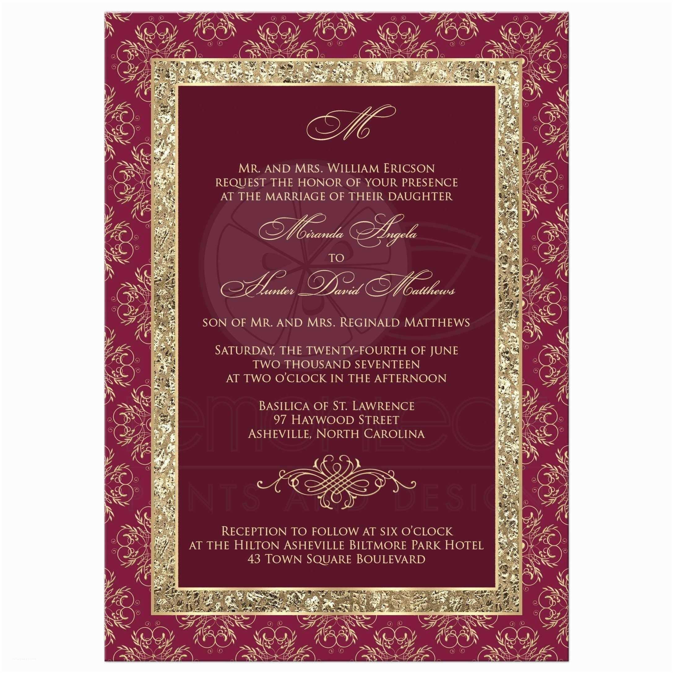 Burgundy themed Wedding Invitations Wedding Invitation Burgundy Gold Elegance