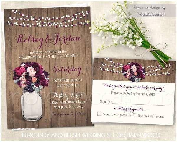 Burgundy Wedding Invitations Boho Chic Romantic Rustic Brown Multicolor Pink Purple
