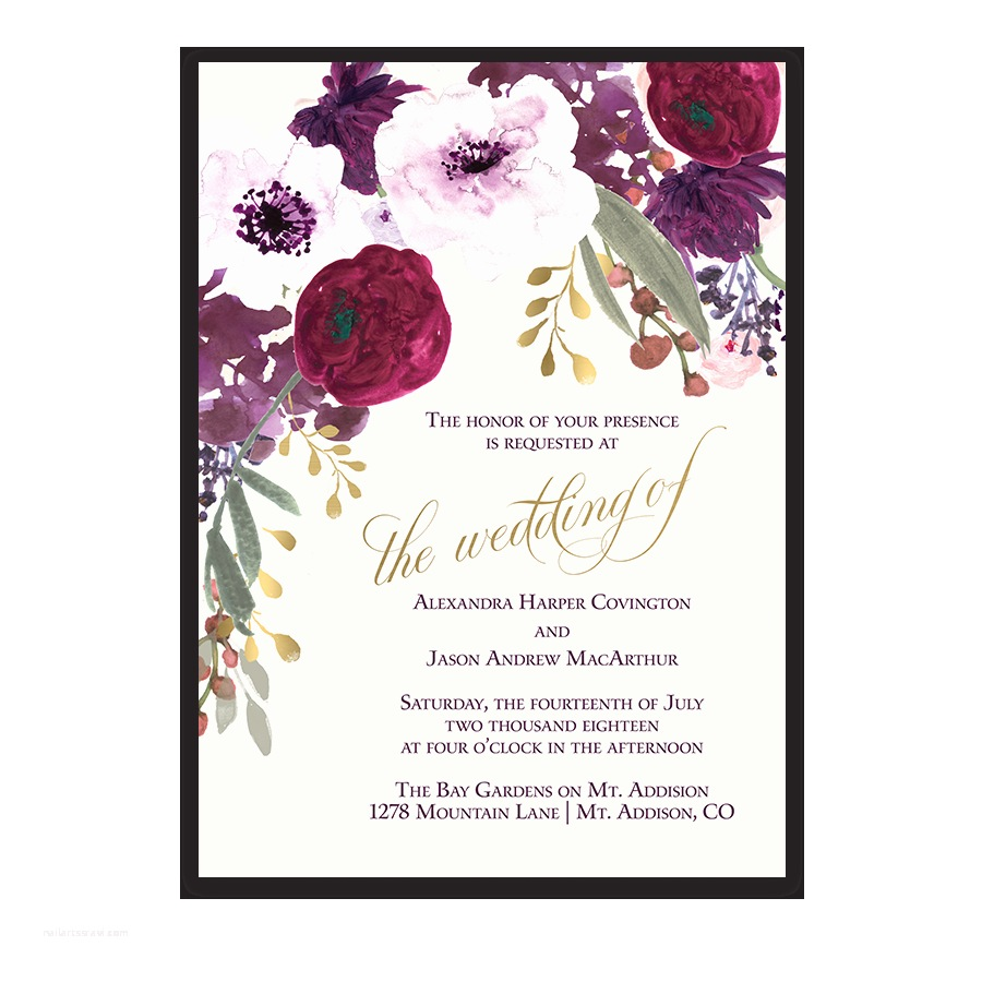 Burgundy Wedding Invitations Burgundy and Gold Floral Boho Postcard Save the Date