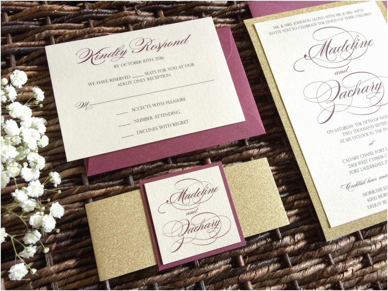 Burgundy Wedding Invitations Burgundy and Gold Glitter Wedding Invitation with Glitter