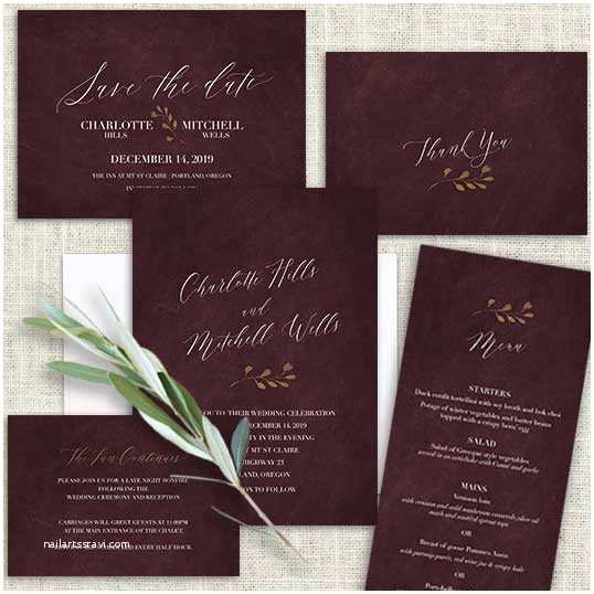 burgundy and gold wedding invitation wine watercolor