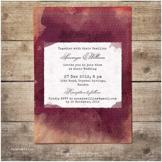 Burgundy Wedding Invitations Burgundy Wedding Invitation Bordeaux and Peach Wedding