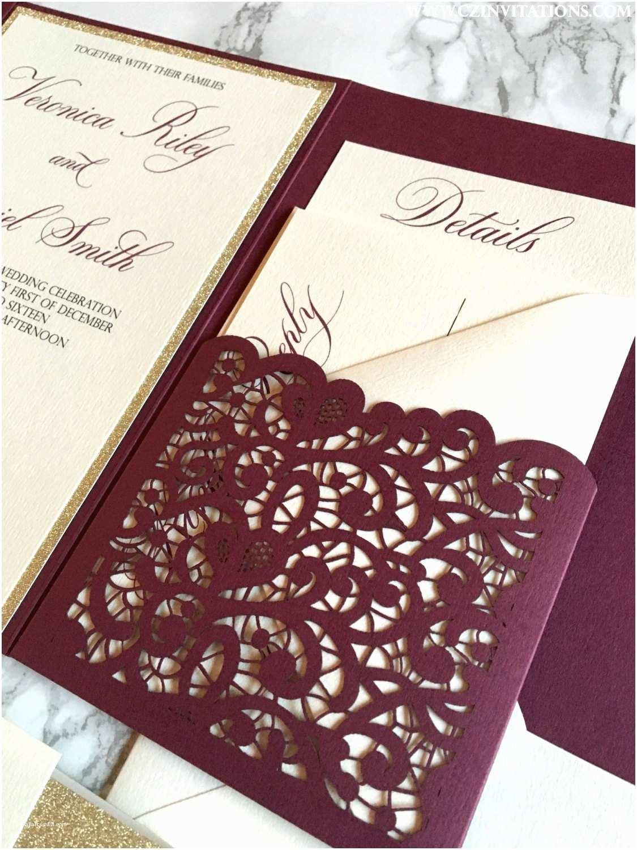 Burgundy Wedding Invitations Burgundy Wedding Invitations Unique Laser Cut Pocket