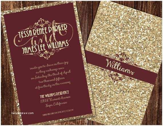 Burgundy Wedding Invitations Champagne and Burgundy Wedding Invitations by