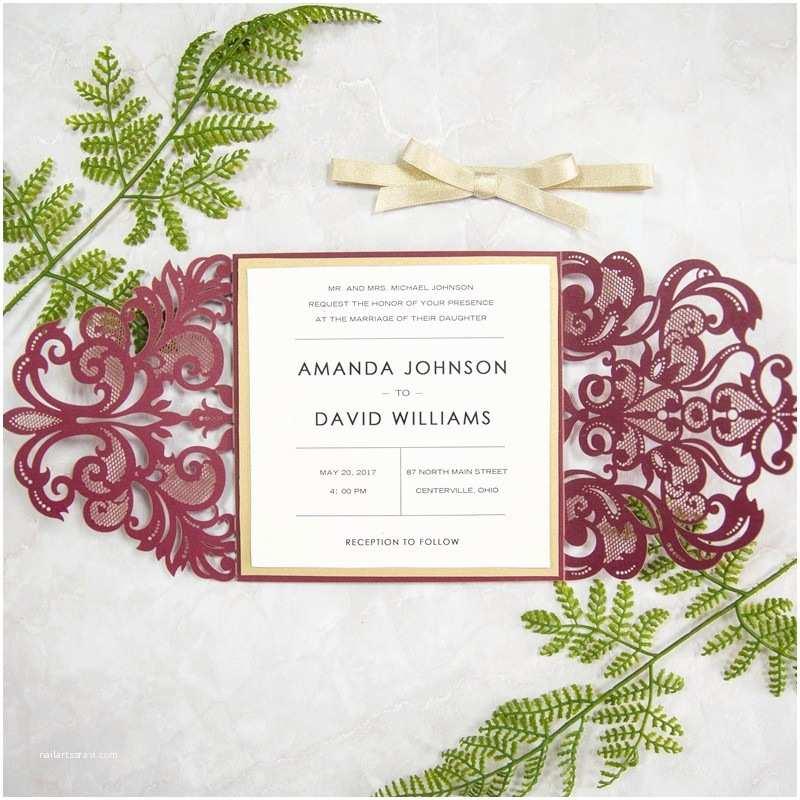 Burgundy Wedding Invitations Elegant Burgundy and Gold Laser Cut Wedding Invitations