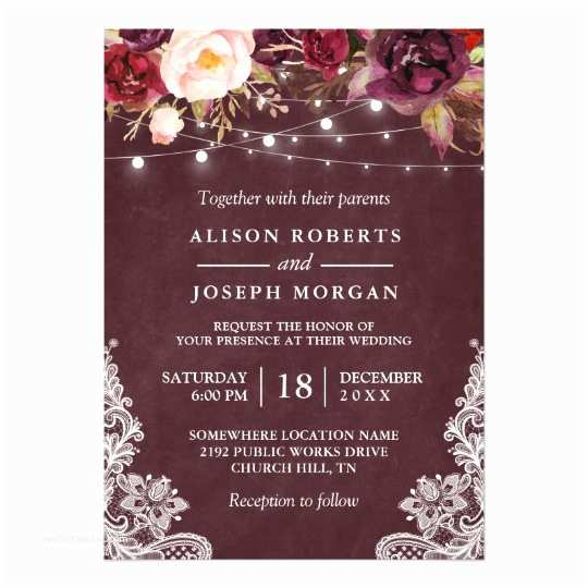 Burgundy Wedding Invitations Marsala Burgundy Floral Lace String Lights Wedding Card