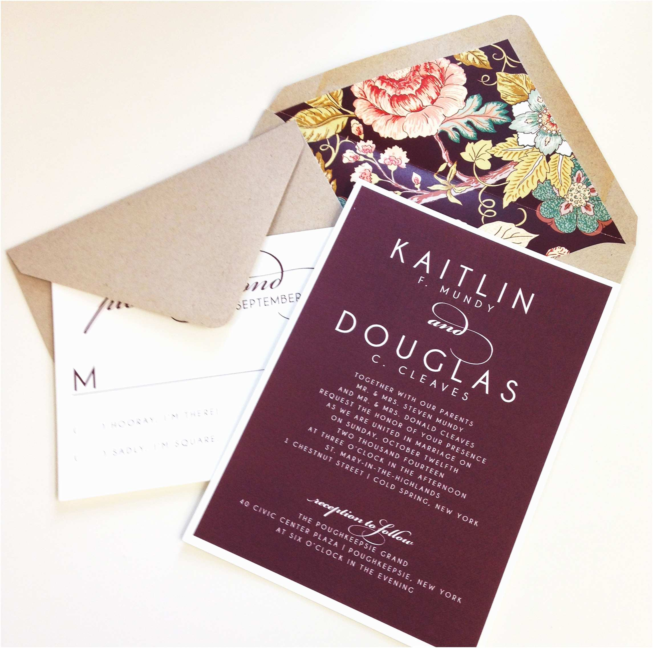 Burgundy Wedding Invitations Vintage Floral Wedding Invitation Burgundy Kraft Envelop