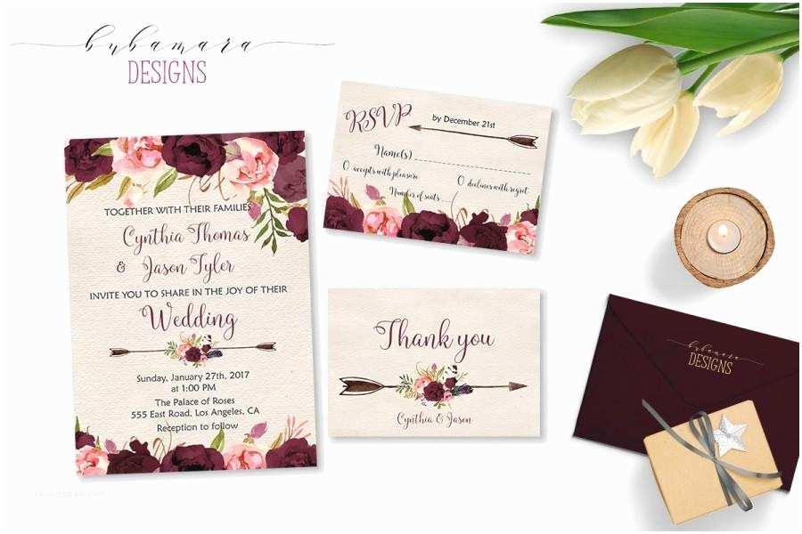 Burgundy Wedding Invitations Wedding Invitation Marsala Burgundy Pink Peonies Printable
