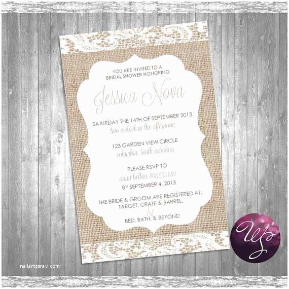 "Burlap and Lace Wedding Invitations Bridal Shower Invitation ""burlap & Lace"" Printable File"