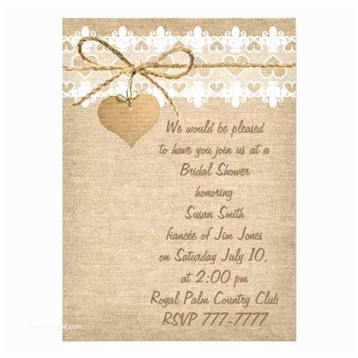 Burlap and Lace Wedding Invitations Bridal Shower Invitations Bridal Shower Invitations