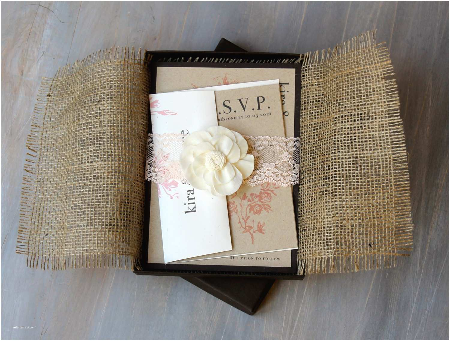 Burlap and Lace Wedding Invitations Burlap and Lace Boxed Wedding Invitations Rustic Chic Wedding